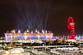 Olympic stadium and The Orbit during London Olympics opening ceremony (2012-07-27) 2.jpg
