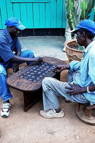 Omweso - Omweso (or Igisoro) players in Kigali, Rwanda