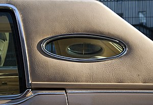 Opera window - Opera window, with photo-etched logo, and padded Landau roof on a Lincoln Continental Town Car