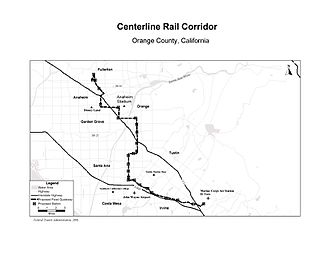 """Orange County Transportation Authority - Original 1999 proposed route for CenterLine from Fullerton to Irvine. Later, a truncated """"starter line"""" from Santa Ana to Irvine was proposed"""