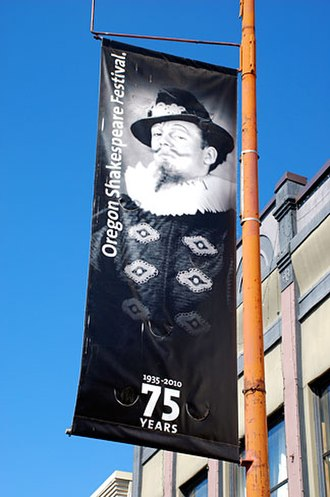 Ashland, Oregon - Oregon Shakespeare Festival 75th anniversary banner