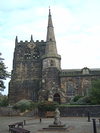 Ormskirk - The distinctive tower and spire of Ormskirk Parish Church