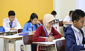 Indonesia National Science Olympiad - Junior high school participants sitting a theoretical exam