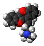 Space-filling model of the oxetorone molecule