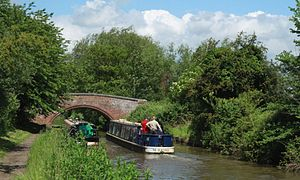 Wolvercote - Bridge and narrowboats on the Oxford Canal near the Plough Inn.