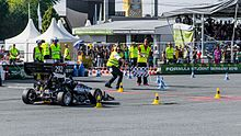 Oxford Brookes Racing finishing endurance at Formula Student Germany 2016.jpg