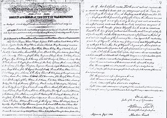 Pacific Railroad Acts - First and last pages of the original manuscript of the Pacific Railroad Act of 1862 (12 Stat. 489) signed by President Lincoln on July 1, 1862 (U.S. National Archives)
