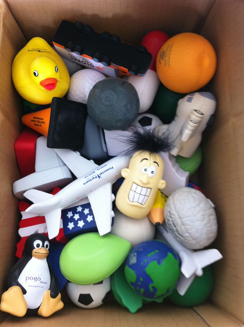 Packing up the stress balls at work. (5103481674).jpg