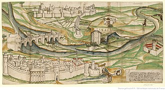 Carcassonne - This drawing of Carcassonne from 1462 found by Jean-Pierre Cros-Mayrevieille in the Gaignières collection of the Bibliothèque Royale, had a major influence on  the project of Carcassone's restoration. It reinforced Viollet-le-Duc's idea that all of the towers were topped with conical roof trussing.