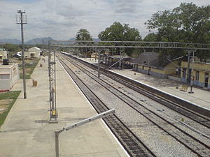 Pakala, Chittoor district - Pakala Railway Station view from foot over bridge