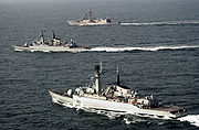 USS Rueben James with Pakistan Navy Ship (PNS) Shahjahan and PNS Tippu Sultan taking part in Exercise Inspired Siren 2002.
