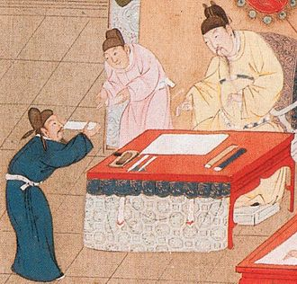 Imperial examination - The emperor receives a candidate during the Palace Examination. Song dynasty.