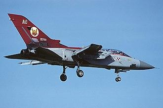 No. 56 Squadron RAF - No. 56 (R) Squadron Panavia Tornado F.3 (ZE789) over Doncaster Sheffield Airport, 1994.