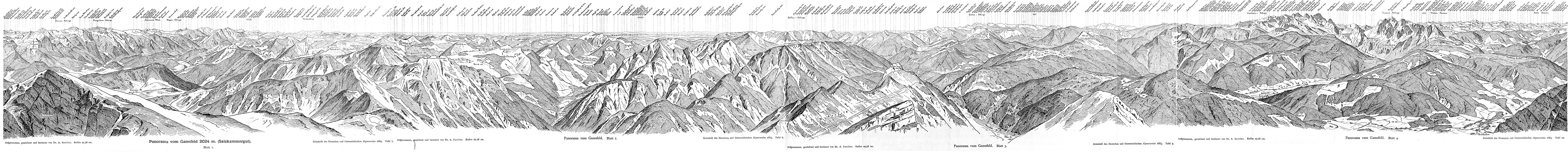 Panorama vom Gamsfeld im Jahr 1883