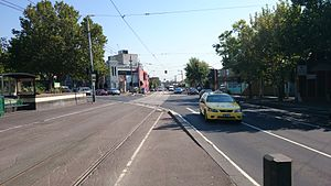 Moonee Ponds Junction - Northbound view up Pascoe Vale Road from tram route 59 stop in February 2014