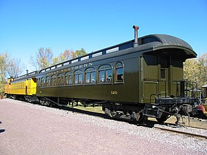Railroad car - American wooden clerestory cars on display at the Mid-Continent Railway Museum in North Freedom, Wisconsin, United States.