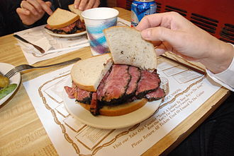 Pastrami on rye - A pastrami sandwich from Katz's Delicatessen