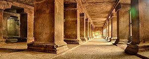 Pataleshwar - Pataleshwar Caves Internal Temple Corridors HDR Panorama Image.
