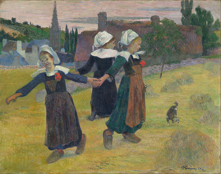 Three girls dancing in a field, 1888: Paul Gauguin - Breton Girls Dancing, Pont-Aven