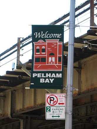 Pelham Bay (neighborhood), Bronx - A civic promotional sign for the neighborhood, located on Westchester Avenue