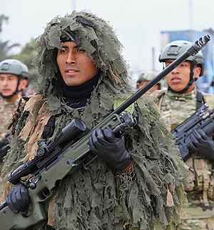 Accuracy International Arctic Warfare - Sniper of the Peruvian Armed Forces equipped with an Arctic Warfare rifle