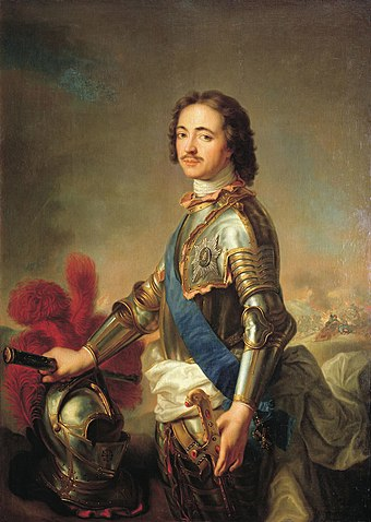 Portrait of Peter I of Russia (1672-1725). Under his reign, Russia looked westward. Heavily influenced by advisors from Western Europe, he implemented sweeping reforms aimed at modernizing Russia. Peter de Grote.jpg