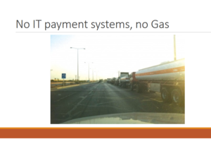 Cyberwarfare - Tanker trucks unable to be loaded with gasoline due to Shamoon attacks