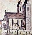 Pfarrkirche St. Johann mit Friedhof, Südwestansicht, Federzeichnung von Heinrich Keller, 1796, Stadtarchiv - Stadtmuseum Rapperswil 2013-01-05 15-52-35.JPG
