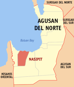 Map of Agusan del Norte with Nasipit highlighted