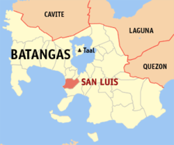 Map of Batangas showing the location of the San Luis.
