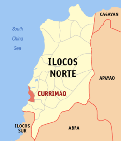 Map of Ilocos Norte showing the location of Currimao