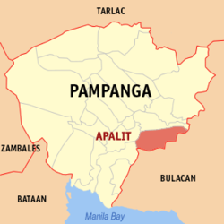 Map of Pampanga showing the location of Apalit