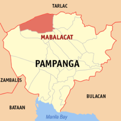 Map of Pampanga showing the location of Mabalacat.