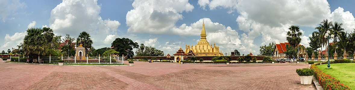 Panorama of Pha That Luang in Vientiane, Laos.