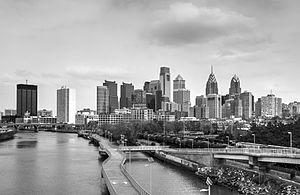 Philadelphia cityscape BW 20150328