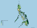 Philippines provinces by % of forest cover.png