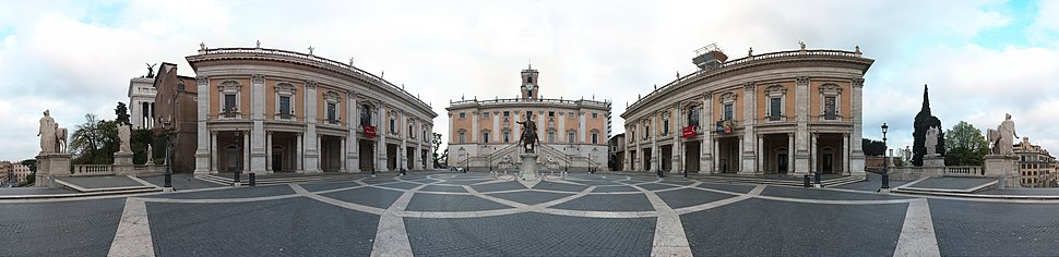 Panoramic view of Piazza del Campidoglio, with the copy of the Equestrian Statue of Marcus Aurelius.