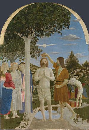 Piero della Francesca - The Baptism of Christ, (c. 1450) (National Gallery, London).