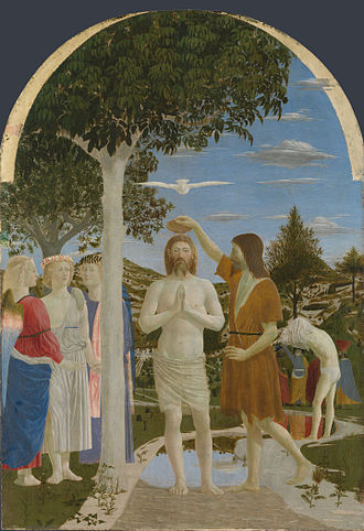 Renaissance art - Piero della Francesca, The Baptism of Christ, (c. 1450) (National Gallery, London).