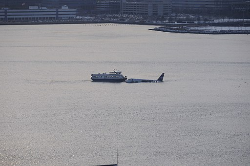 Plane and ferry in the Hudson 2
