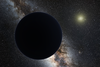 Planet Nine depicted as a dark sphere distant from the Sun with Milky Way in the background