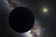 Artist's impression of Planet Nine eclipsing the central Milky Way, with the Sun in the distance