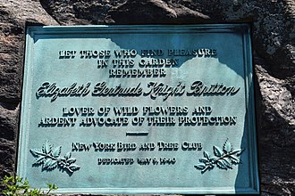 Elizabeth Gertrude Britton - Plaque placed in honor or Elizabeth Gertrude Knight Britton on the grounds of the New York Botanical Garden.