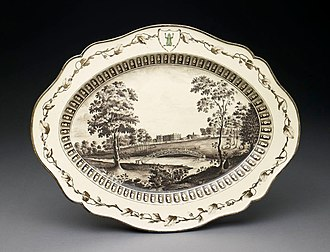 Frog Service - Serving-plate with Ditchley Park, Oxfordshire, Birmingham Museum of Art