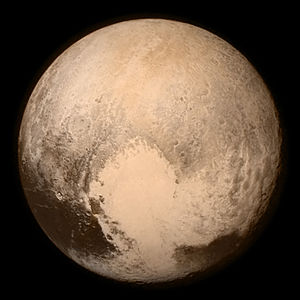 Krun - Near-true-color image of Pluto taken 13 July 2015, with Krun Macula on the limb at 5 o'clock