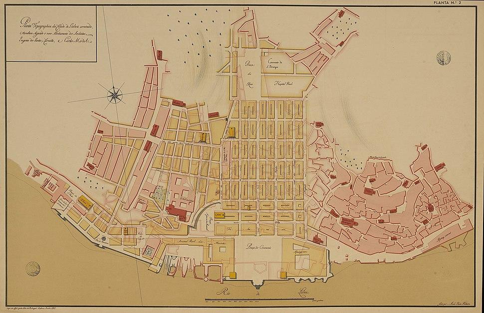 Pombaline Baixa Lisbon map 1756