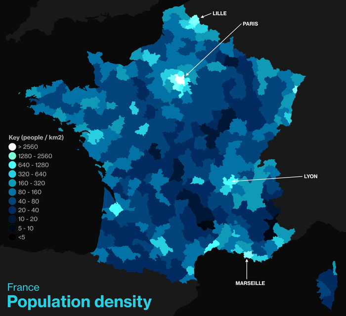Population density in France by arrondissement. The main urban areas are visible, notably the Paris (center-north), Lille (north), Marseille (southeast) and Lyon (center-southeast) urban areas. Population density in France.png