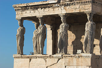 Athenian festivals - Caryatid Porch of the Erechtheion, Athens, 421–407 BCE.