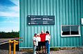 Port Hope Simpson Airport Terminal l to r Muriel Margaret Burden Llewelyn Pritchard and Airport Gopher 2002.jpg