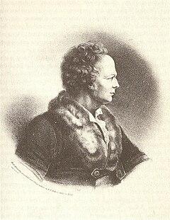Gluck, lithographiert von F. E. Feller nach einem Physionotrace von Edmé Quenedey, die wiederum postum nach einer Büste des Bildhauers Jean-Antoine Houdon aus dem Jahr 1776 radiert wurde (Quelle: Wikimedia)